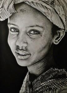 Portrait dessin d'une petite fille d'Erythrée au turban