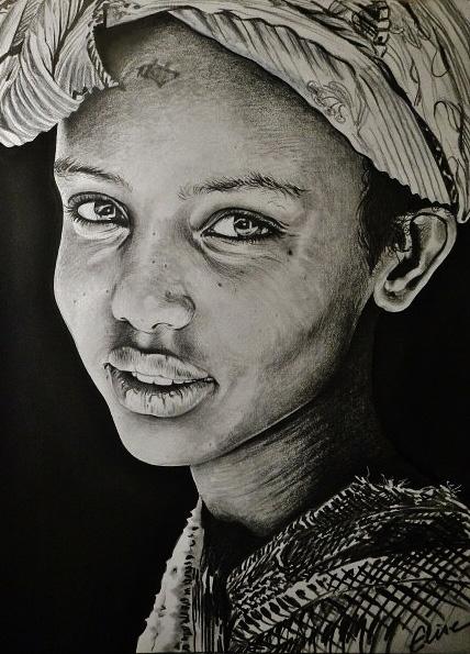 portrait dessin d 39 une petite fille d rythr e au turban. Black Bedroom Furniture Sets. Home Design Ideas