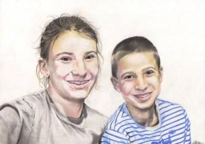 portrait-dessin-d-après-photo-enfants-frère-et-soeur-2