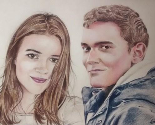 portrait-dessin-d-après-photo-famille-frère-et-soeur