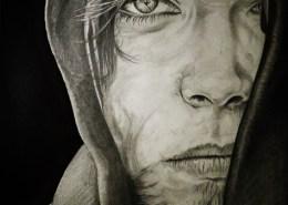 Portrait dessin d'un jeune homme européen à la capuche