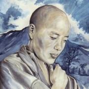 Portrait dessin d'une jeune nonne tibétaine à la tête rasée