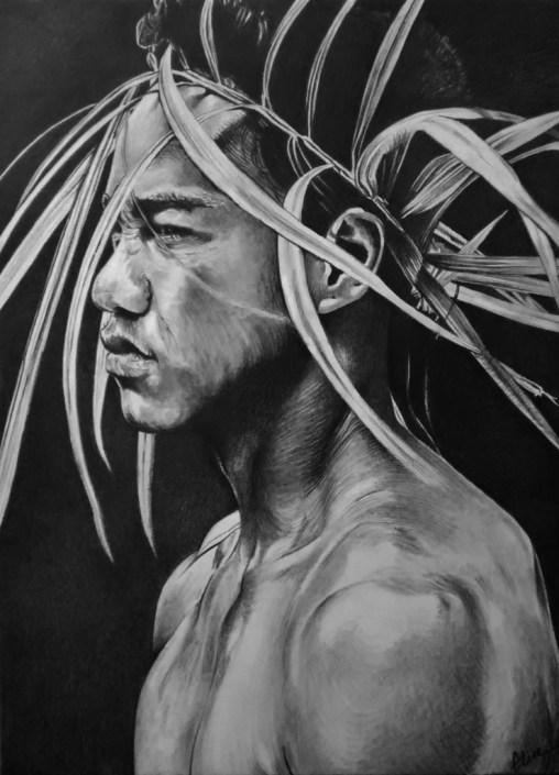 Portrait dessin jeune Tahitien maori à la couronne
