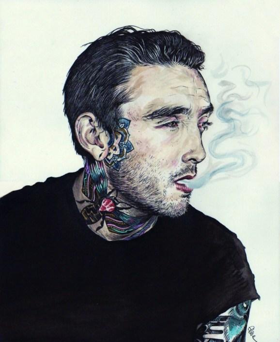 Portrait dessin d'un jeune homme anglais au tatouage abeille