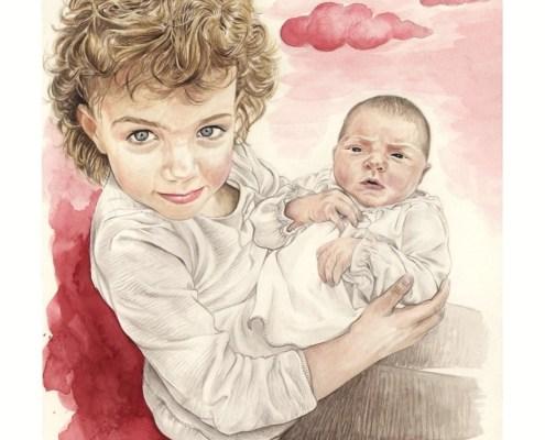 portrait-dessin-d-après-photo-enfants-faire-part-naissance