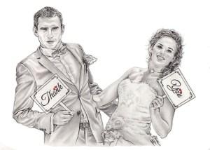 portrait-dessin-d-après-photo-couple-mariés