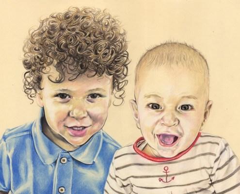 portrait-dessin-d-après-photo-enfants-frères