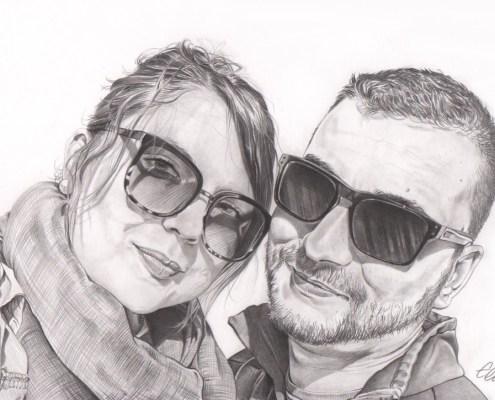 portrait-dessin-d-après-photo-couple-vacances-2