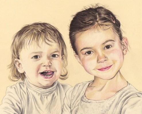 portrait-dessin-d-après-photo-enfants-sœurs-2