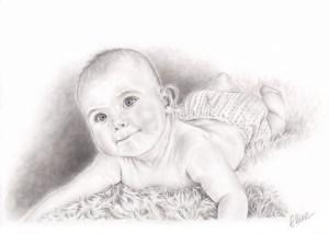 Portrait dessin d'après photo d'un bébé allongé sur une couverture
