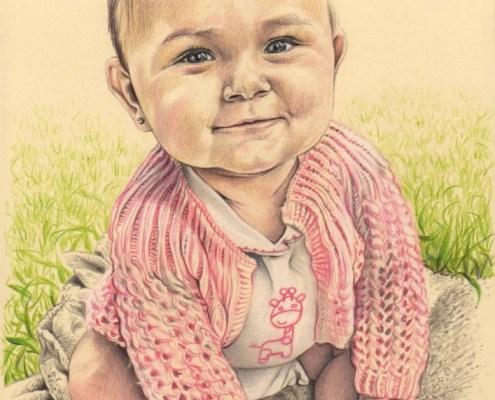 Portrait dessin d'après photo d'une petite fille assise dans l'herbe