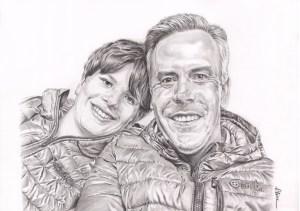 Portrait dessin d'après photo d'un père et de son fils en doudounes
