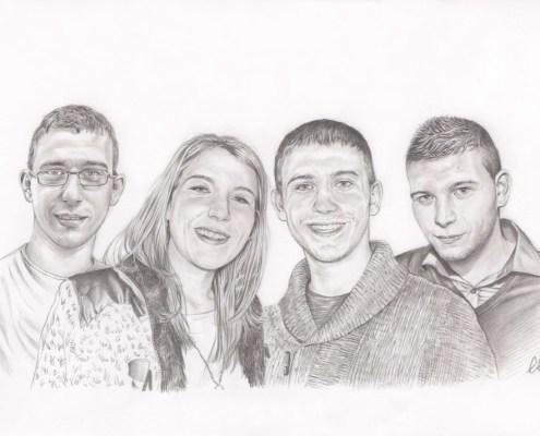 Portrait dessin d'après photo de trois frères et une sœur