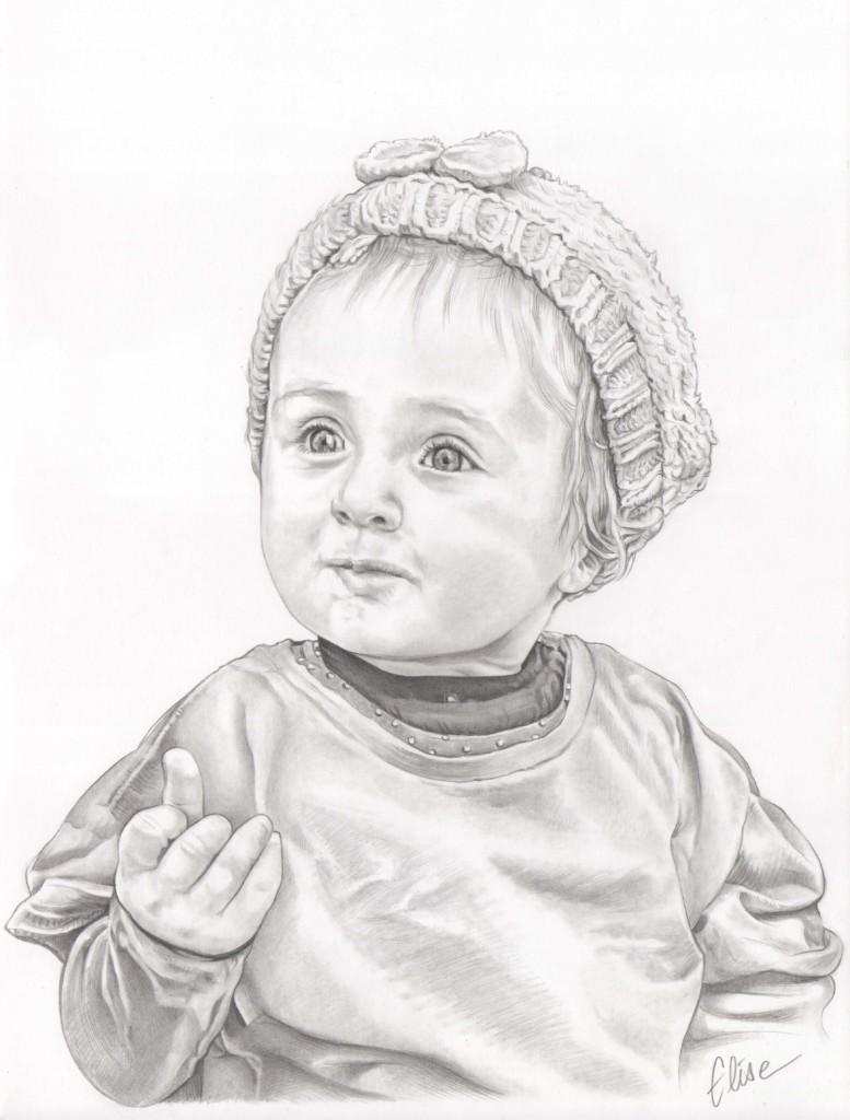 Portrait Dessin Daprès Photo Dune Petite Fille Au Bonnet