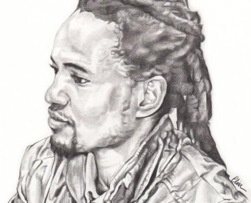 Portrait dessin d'après photo d'un homme de profil en noir et blanc