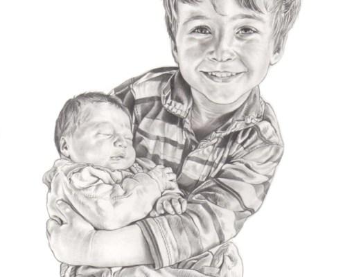 Portrait dessin d'après photo d'un petit garçon avec un bébé