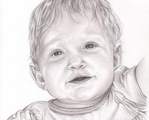 Portrait dessin d'après photo d'une petite fille en robe noir et blanc