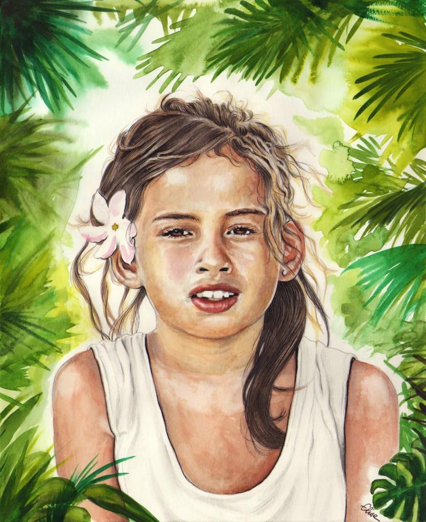 Portrait dessin d 39 une petite fille de bora bora la fleur de tiar - Fleur de tiare dessin ...
