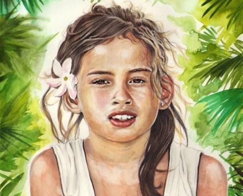 Portrait dessin d'une petite fille de Bora Bora à la fleur de Tiaré
