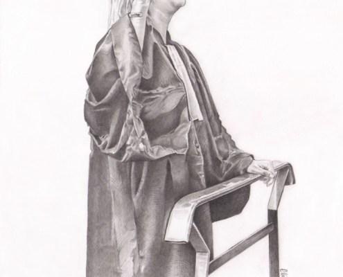 Dessin portrait d'après photo d'une femme en noir et blanc
