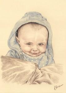 Portrait dessin d'après photo d'un bébé avec une capuche