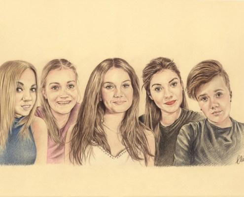 Portrait dessin d'après photo d'une famille avec cinq sœurs en couleur