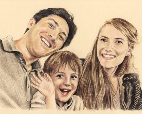 Portrait dessin d'après photo d'une famille heureuse
