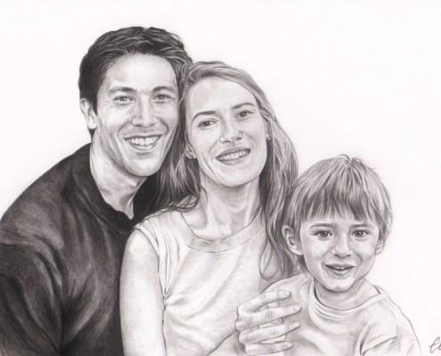 Portrait dessin d'après photo d'une famille heureuse en noir et blanc