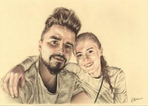 Portrait dessin d'après photo d'un jeune couple souriant