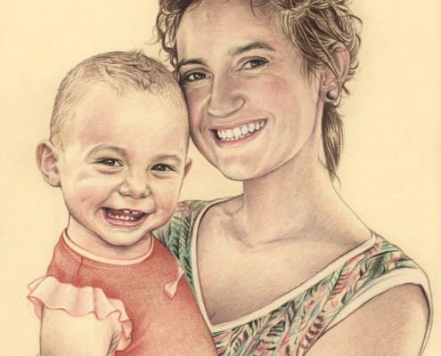 Portrait dessin d'après photo d'une mère avec son bébé
