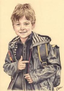 Portrait dessin d'après photo d'un petit garçon en ciré avec son cartable