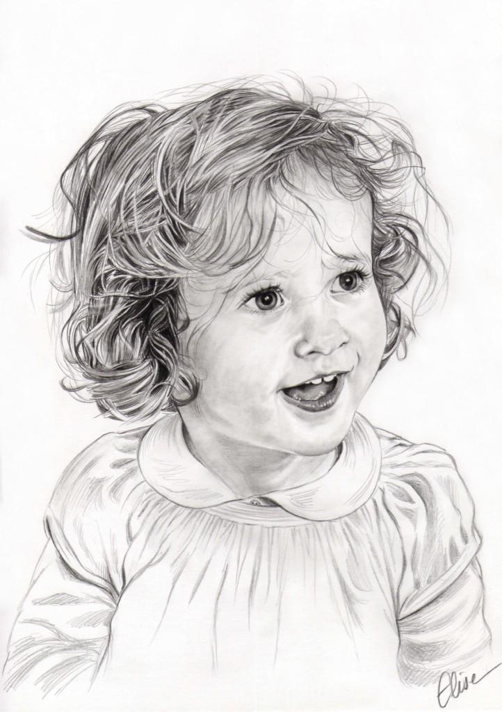 Portrait Dessin D Apres Photo D Une Petite Fille Aux Cheveux Boucles