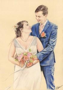 Portrait dessin d'après photo d'un couple marié se regardant