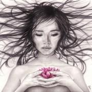 """Portrait dessin d'Asie : la """"Jeune fille à la fleur de lotus"""""""