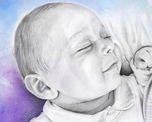 Faire part dessiné d'après la photo d'un bébé