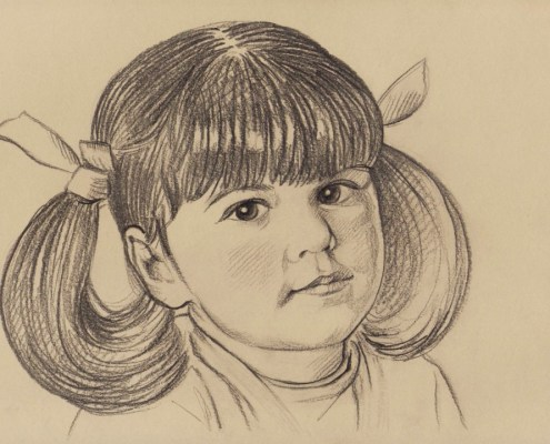 Portrait dessin d'après une ancienne photo d'une petite fille avec des couettes