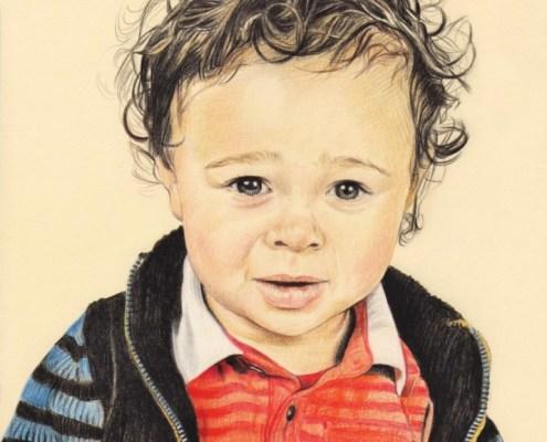 Portrait dessin d'après photo de bébé d'un petit garçon en couleur