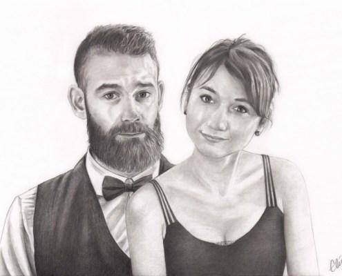 Portrait dessin d'après photo d'un couple en habits de soirée