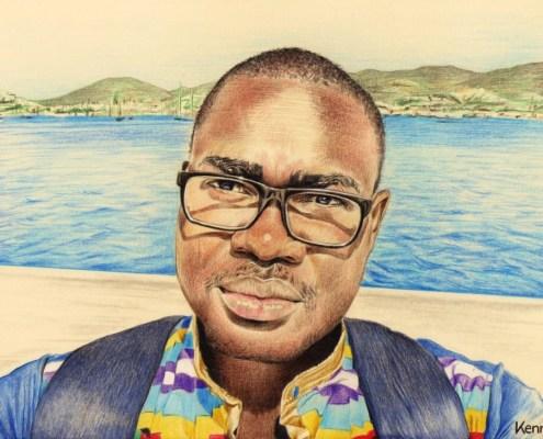 Portrait dessin d'après photo d'un jeune homme africain avec des lunettes