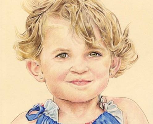 Portrait dessin d'après photo d'une petite fille aux cheveux bouclés en couleur
