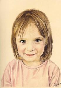 Portrait dessin d'après photo d'une petite fille aux cheveux courts en couleur