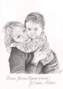 Portrait dessin d'après photo d'une maman et son fils pour la fête des mères