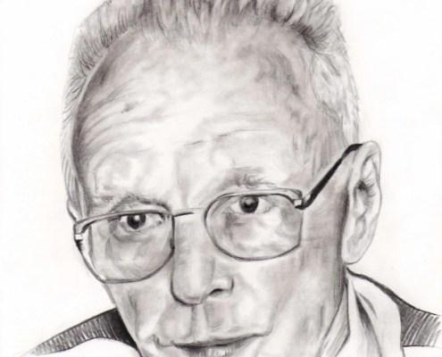Portrait dessin d'après photo d'un vieux monsieur en noir et blanc