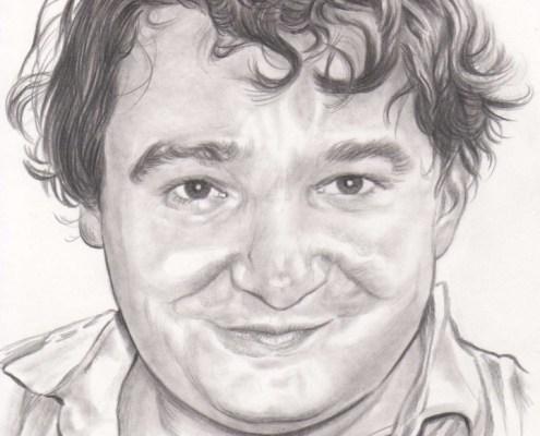 Dessin portrait d'après une photo d'un homme brun souriant en chemise