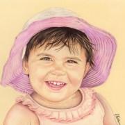 Portrait dessin d'après photo d'une petite fille avec un chapeau rose