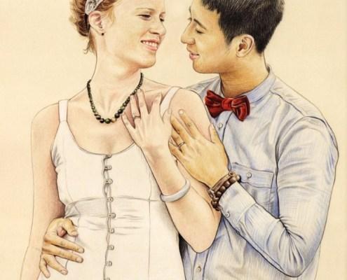 Portrait d'après photo d'un couple marié se regardant