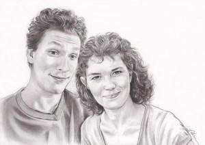 Portrait dessin d'après photo d'amoureux en noir et blanc