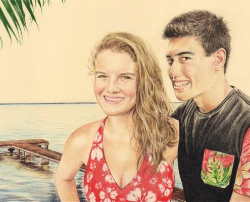 Portrait dessin d'après photo d'un couple polynésien