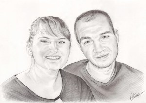 Portrait dessin d'après photo d'une sœur et son frère en noir et blanc