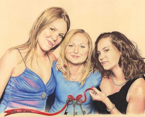 Portrait dessin d'après photo de trois copines